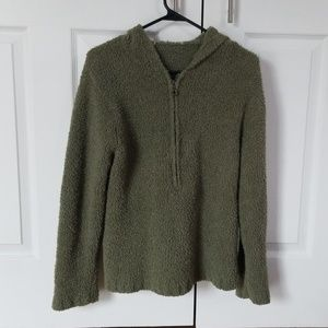 Olive Hooded Sherpa Half-zip
